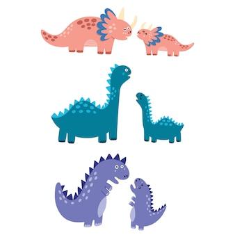 Mütter und babys dinosaurier gesetzt. mutter dinos mit ihren kleinen babys isolierte elemente. niedliche charaktere im kindlichen stil. illustration