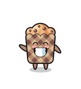 Muffin-cartoon-figur, die wellenhandgeste macht, süßes design