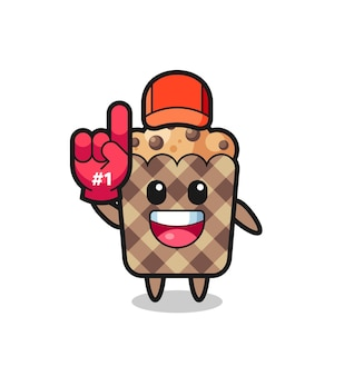 Muffin illustration cartoon mit nummer 1 fans handschuh, süßes design