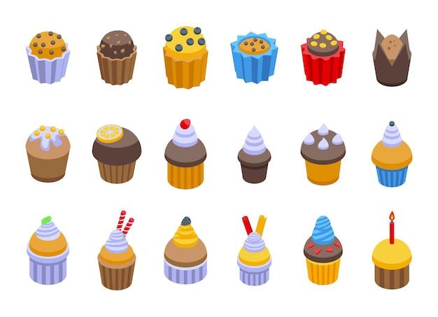 Muffin-symbole gesetzt. isometrischer satz muffinvektorikonen für das webdesign lokalisiert auf weißem hintergrund