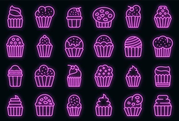 Muffin-symbole gesetzt. umrisse von muffin-vektorsymbolen neonfarbe auf schwarz
