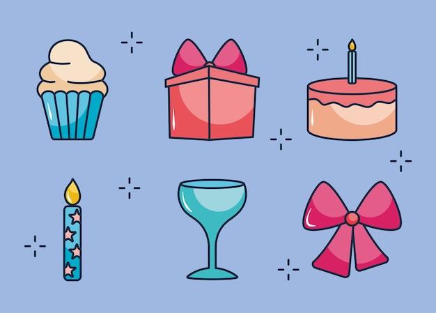 Muffin und party-symbol über blauem hintergrund eingestellt
