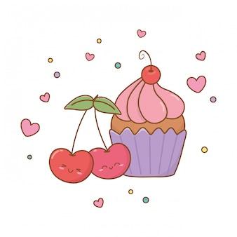 Muffins und kirschen