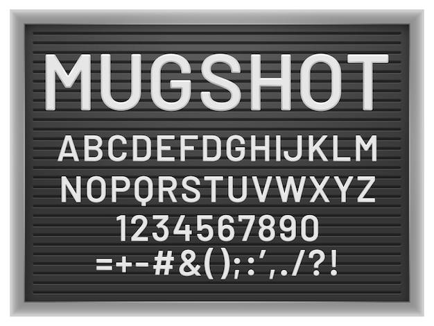 Mugshot-briefbrett. schwarzer rahmen mit weißen, austauschbaren buchstaben und zahlen aus kunststoff für nachrichten, vektormodell für banner oder menüschilder. abbildung von alphabet, zahlen und satzzeichen