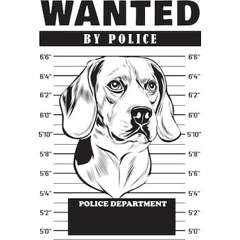 Mugshot von beagle dog mit banner hinter gittern