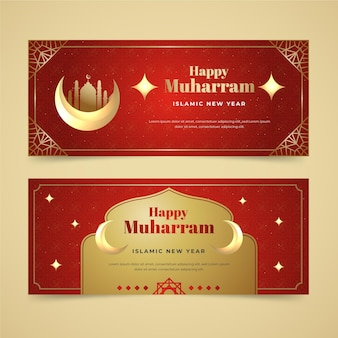Muharram-banner mit farbverlauf eingestellt