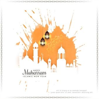 Muharram-festival und islamische neujahrsgrußkarte mit moscheevektor