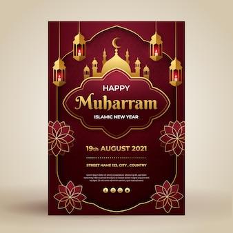Muharram vertikale plakatvorlage im papierstil