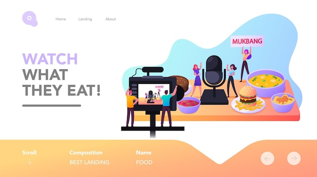 Mukbang-landingpage-vorlage. winzige charaktere essen und probieren essen auf videokamera für social media vlog, programmübertragung, degustation von mahlzeiten im internet. cartoon-menschen-vektor-illustration