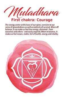 Muladhara chakra-symbol auf einem roten aquarellpunkt. das wurzelchakra