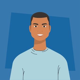 Mulatte des jungen mannes, avatarcharakter. Premium Vektoren