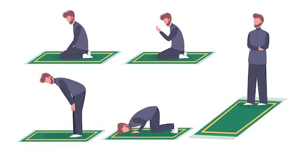 Mulim mann betende position. mann in traditioneller kleidung, der schritt für schritt ein religionsritual durchführt.