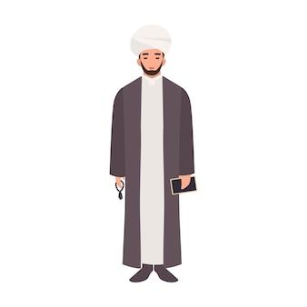 Mullah trägt turban und traditionelle kleidung, hält perlen und koranbuch. islamischer geistlicher, geistlicher oder religiöser führer.
