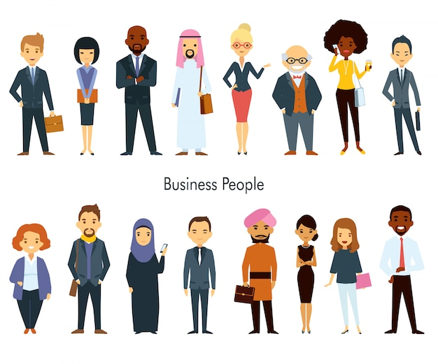 Multi ethnischer team business people set