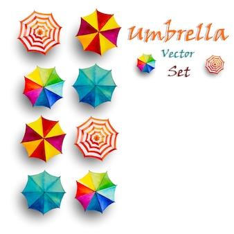 Multi farbiger regenschirm, draufsicht der vektoraquarellmalerei.