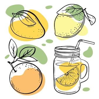 Multi-frucht-skizzen mit pastellorange, gelben und grünen farbspritzern illustrationen