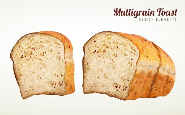 Multi-korn-toast-design-elemente, geschnittener toast in 3d-darstellung auf beigem hintergrund isoliert