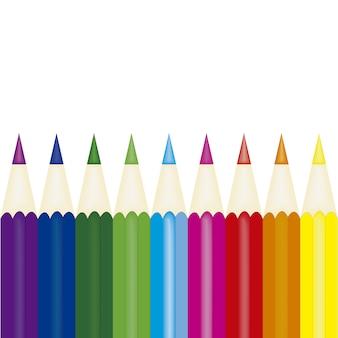 Multicolor bleistift auf weißem hintergrund