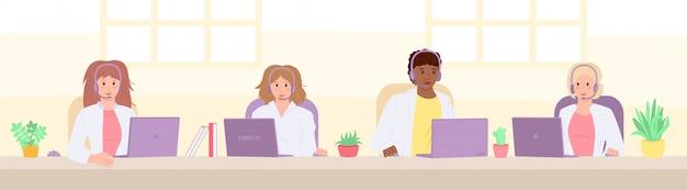 Multiethnisch lächelnde ärzte beantworten anrufe. sanitäter mit headsets, gesundheits-cartoon call center