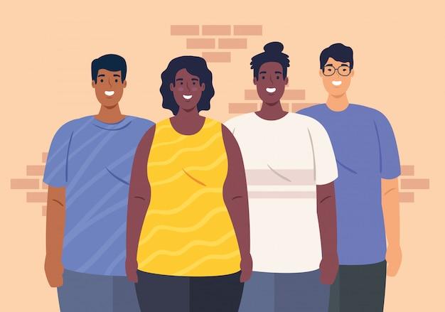 Multiethnisch zusammen, vielfalt und multikulturalismus konzept