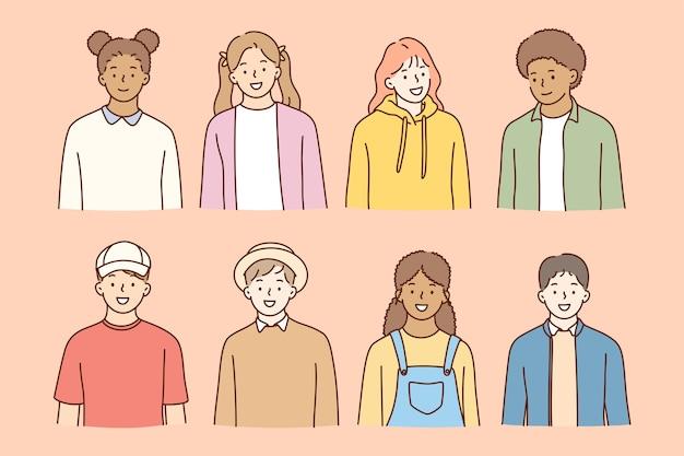 Multiethnische freundschaft, studenten international day konzept.
