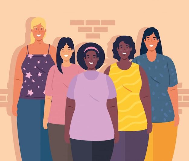 Multiethnische gruppe frauen zusammen, vielfalt und multikulturalismus konzept