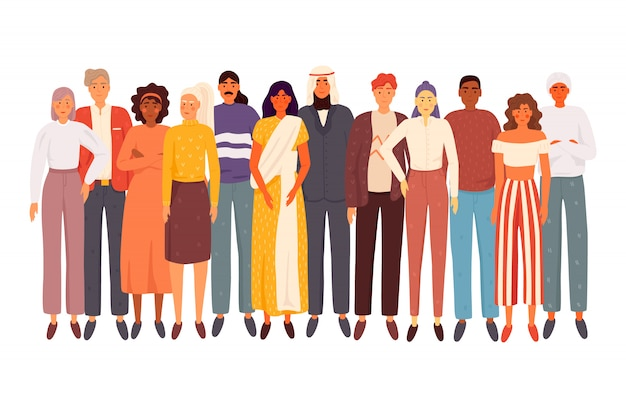 Multiethnische gruppe von menschen, die isoliert zusammen stehen