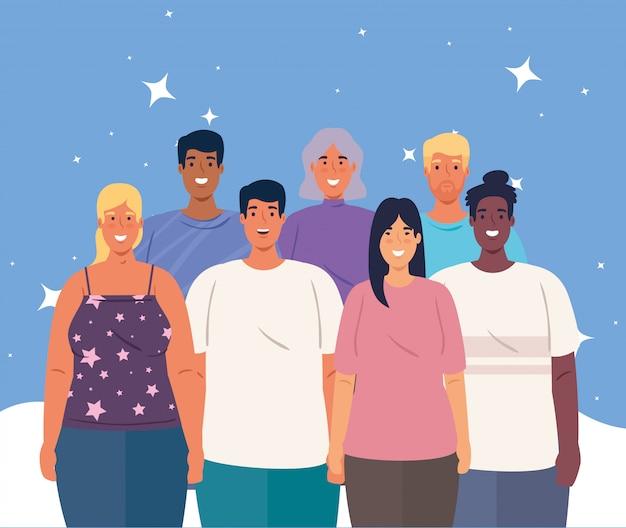 Multiethnische gruppe von menschen zusammen, frauen und männer vielfalt und multikulturalismus konzept