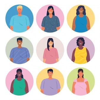 Multiethnische gruppe von menschen zusammen in kreisen, vielfalt und multikulturalismus konzept