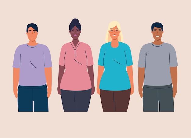 Multiethnische gruppe von menschen zusammen, vielfalt und multikulturalismus konzept