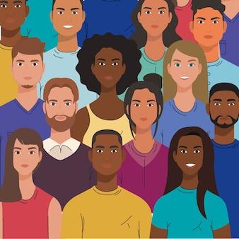 Multiethnische gruppe von menschen zusammen, vielfalt und multikulturalismus konzept.