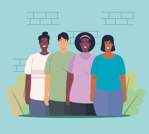 Multiethnische gruppenmenschen zusammen, kultur- und diversitätskonzept