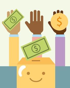 Multiethnische hände mit geld und cartoon-box-charity