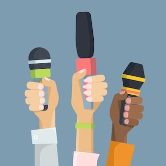 Multiethnische journalisten, die flache vektorillustration der mikrofone halten