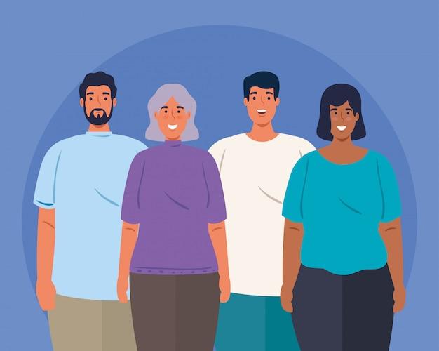 Multiethnische junge menschen zusammen, kultur- und diversitätskonzept
