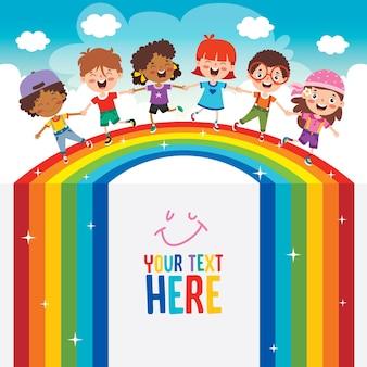 Multiethnische kinder, die auf regenbogen spielen