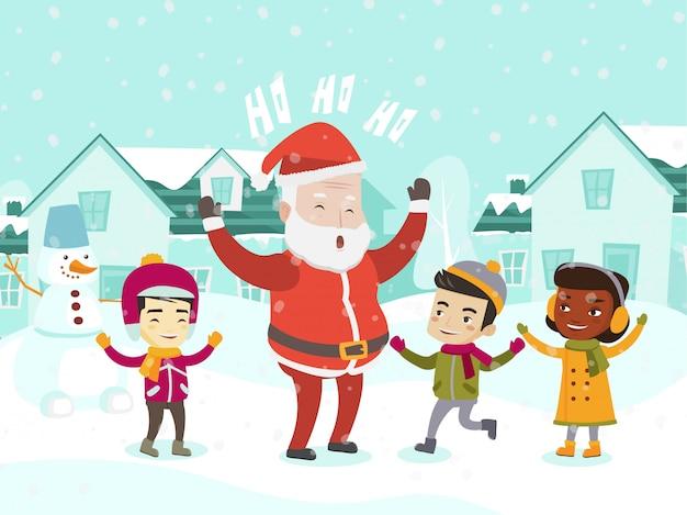 Multiethnische kinder, die mit dem weihnachtsmann spielen