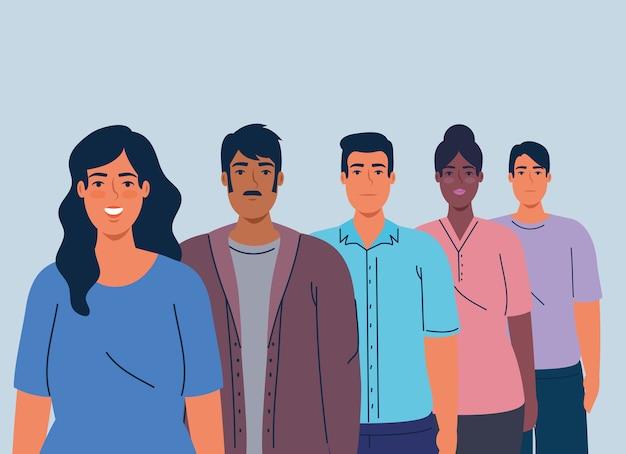 Multiethnische männer und frauen zusammen, vielfalt und multikulturalismus-konzept