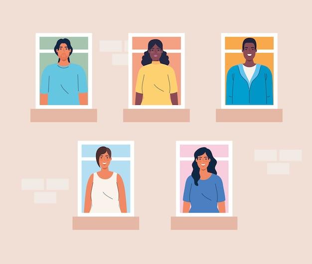 Multiethnische menschen, die aus den fenstern schauen, vielfalt und multikulturalismus-konzept