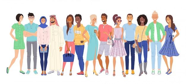 Multiethnische menschen. isolierte zufällige junge erwachsene männer- und frauenkarikaturcharakter-bürgergruppe, die zusammen steht. interracial und multiethnische paare drängen sich. vektor vielfältige multiethnische volksgesellschaft