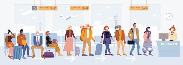 Multiethnische passagiere in medizinischen masken, die in der nähe des registrierungsschalters stehen und in der flughafenlounge sitzen.