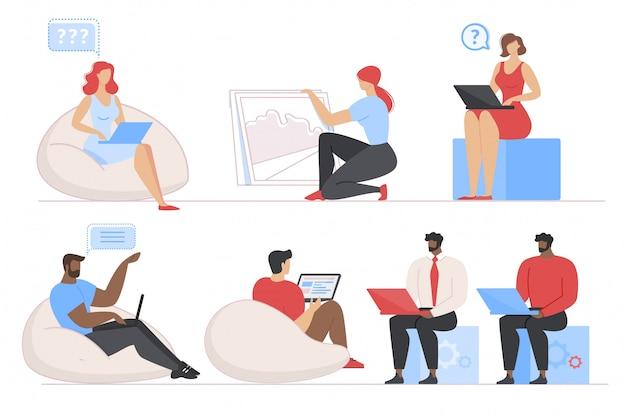 Multiethnische verschiedene leute arbeiten an laptop-satz