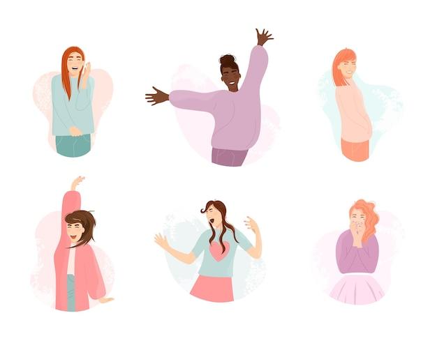 Multiethnisches mädchen des glücklichen lächelnausdrucks springend und tanzend. junge schöne emotionale frau mit verschiedenen angehobenen handgesten lächelnd lachend