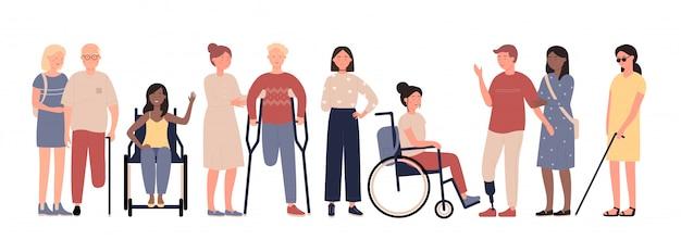Multikulturelle behinderte menschen mit freunden zeichen flache vektor-illustration gesetzt