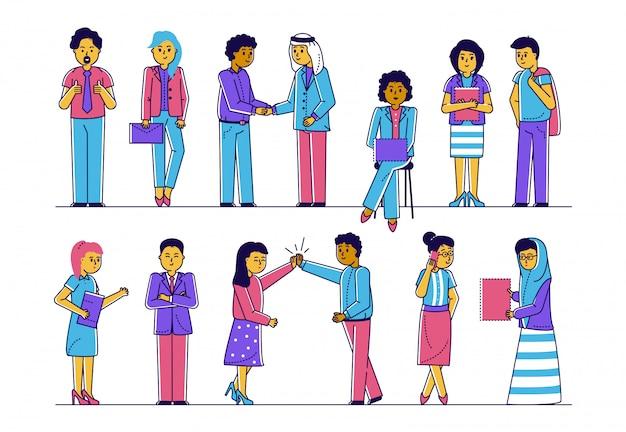 Multikulturelle büroangestellte arbeiten zusammen, moderne gesellschaft konzept der freundschaft und partnerschaft linie illustration.