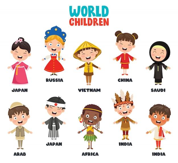 Multikulturelle charaktere der welt