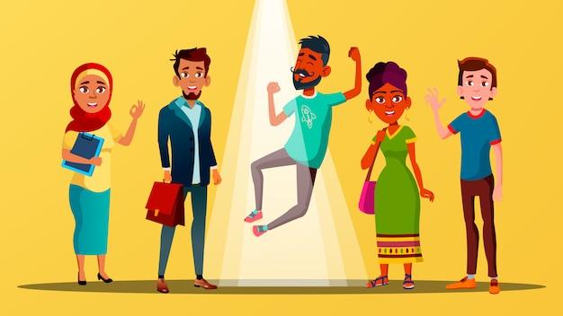 Multikulturelle charaktere, die sich über freie stellen freuen