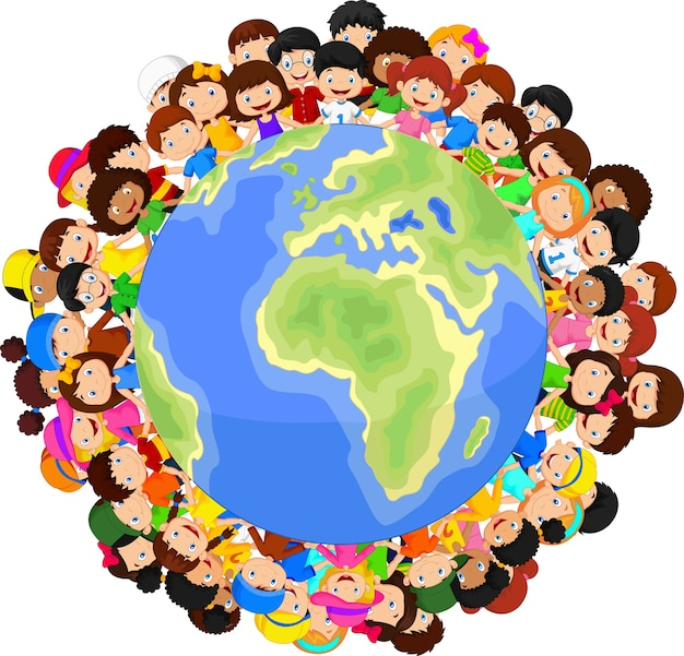 Multikulturelle kinder auf planetenerde