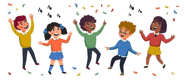 Multikulturelle kinder cartoon illustration von glücklichen tanzenden kindern