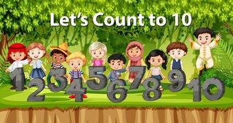 Multikulturelle Kinder und Zahl im Dschungelhintergrund